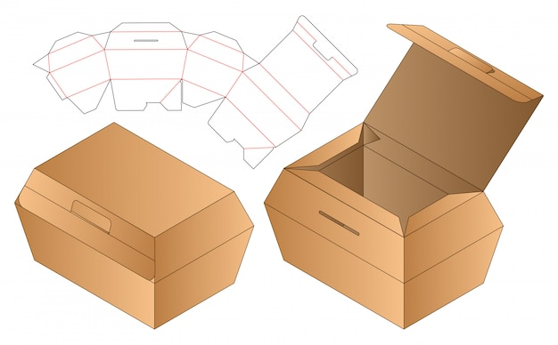 Doos verpakking gestanst sjabloonontwerp. 3d