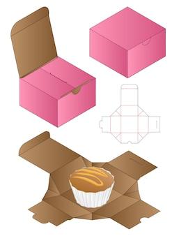 Doos verpakking gestanst sjabloonontwerp 3d