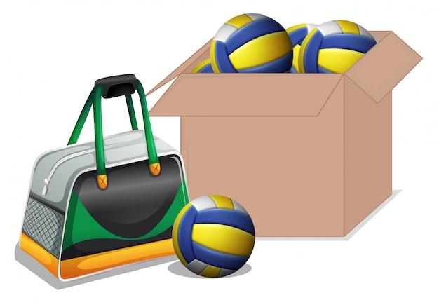 Doos vol met geïsoleerde volleybal ballen