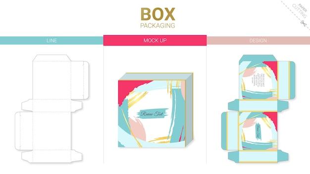 Doosverpakking abstract en mockup gestanst sjabloon Premium Vector