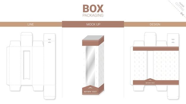 Doosverpakking en gestanste mockup-sjabloon premium