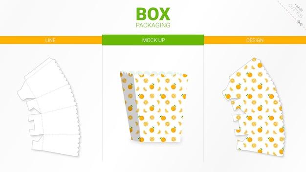 Doosverpakking en gestanste sjabloon Premium Vector