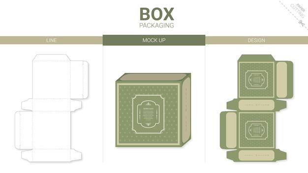 Doosverpakking en mockup gestanst sjabloon groen