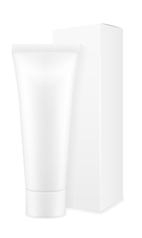 Doosverpakking en tube tandpasta leeg sjabloon