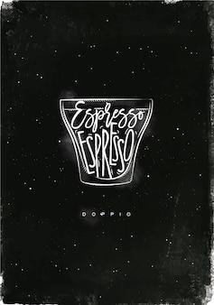 Doppio cup belettering espresso in vintage afbeeldingsstijl tekenen met krijt op schoolbord achtergrond