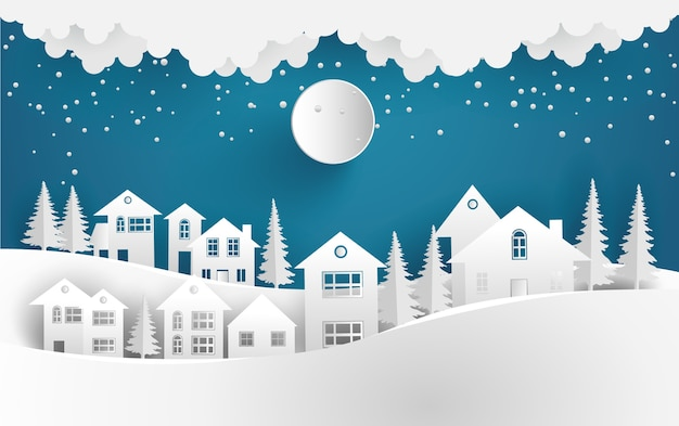Dorp in de winterlandschap achtergrond