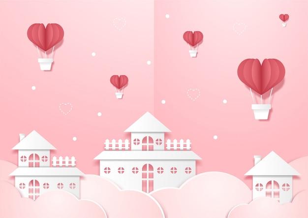 Dorp met luchtballonnen in de lucht