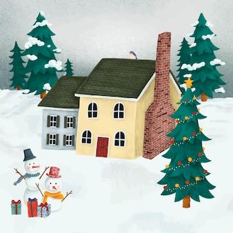 Dorp tijdens een kerstnacht