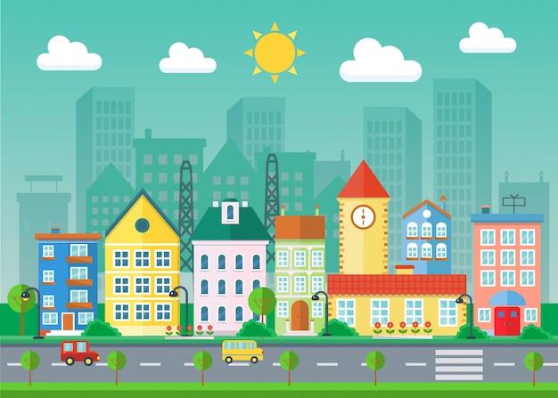 Dorpsgebouwen met wolkenkrabberslandschap