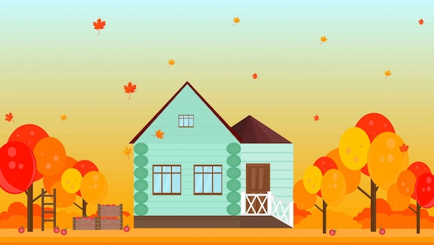 Dorpshuis in herfst seizoen achtergrond vectorillustraties