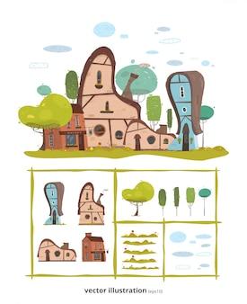 Dorpshuizen en natuurlijke elementen creatieve set