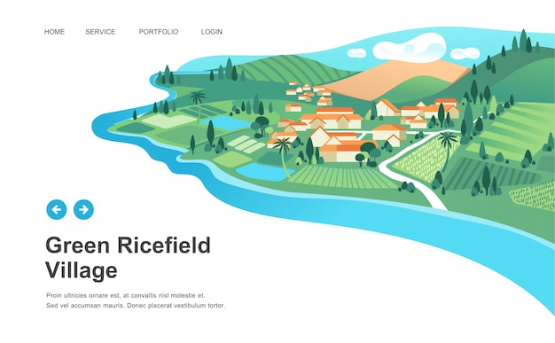 Dorpslandschap met huizen, rijstveld, berg en rivier landschap vectorillustratie