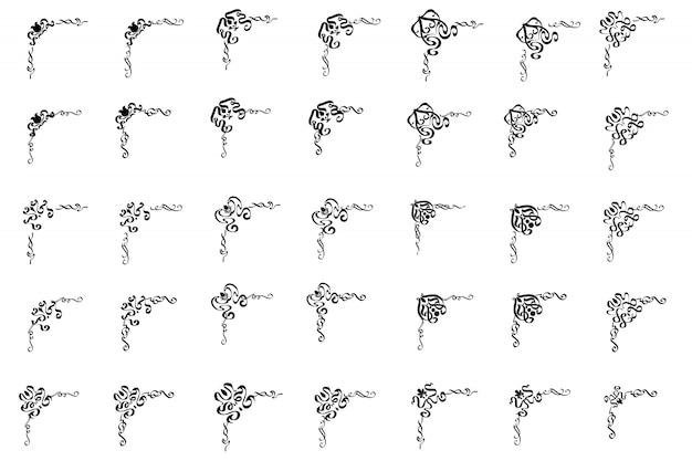 Dossier van klassiek ornamentframe, uitstekende grensreeks.
