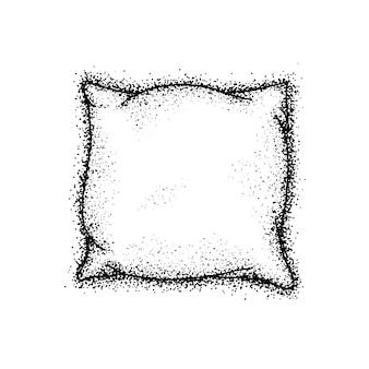 Dotwork bed kussen. vectorillustratie van hand getrokken schets. zwarte inktkrabbel.