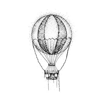 Dotwork hete luchtballon. vectorillustratie van t-shirt design. reizen tattoo hand getrokken schets.