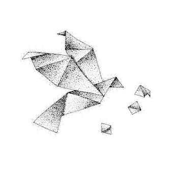 Dotwork origami vogel. vectorillustratie van papier vlucht. tattoo hand getekende schets.