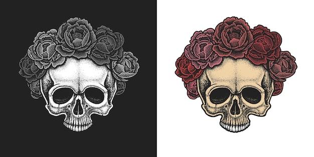 Dotwork-stijl schedel met krans van pioenrozen.