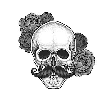 Dotwork-stijl schedel met snor en pioenrozen