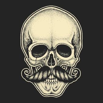 Dotwork-stijl schedel met snor
