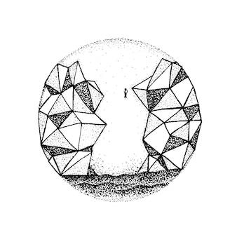 Dotwork veelhoekige rotsberg. vectorillustratie van sea jump concept. tattoo hand getekende schets.