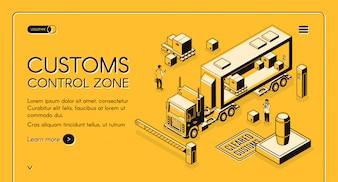 Douane controle zone online diensten webbanner met douanebeambten inspecteren