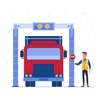Douane vrachtwagen vracht scanner