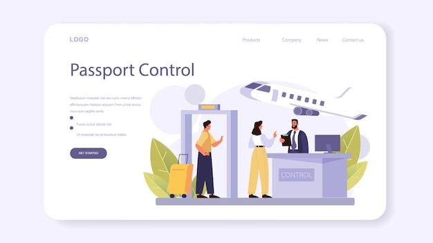 Douanebeambte webbanner of bestemmingspagina. paspoortcontrole op de luchthaven. metaaldetector controle. internationale handel en distributie checkpoint en registratie. platte vectorillustratie