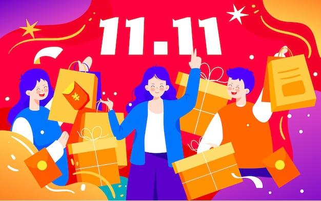 Double 11 online winkelen carnaval illustratie figuur nieuwjaar winkelen poster