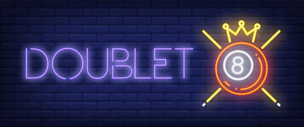 Doublet-neontekst met bal, kroon en aanwijzingen