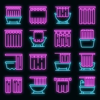 Douchegordijn pictogrammen instellen. overzicht set douchegordijn vector pictogrammen neon kleur op zwart