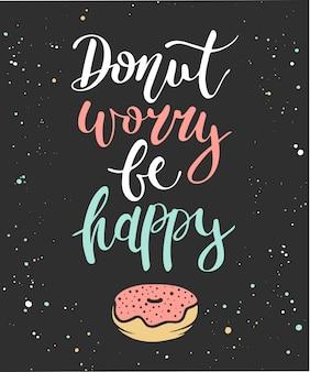 Doughnutzorgen zijn gelukkig, donut op een donkere achtergrond