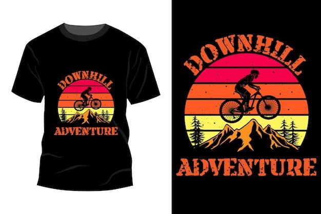 Downhill avontuur t-shirt mockup ontwerp vintage retro