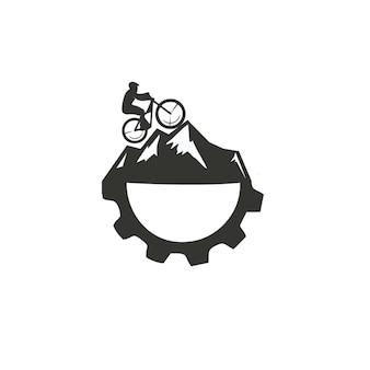 Downhill mountain gear vector