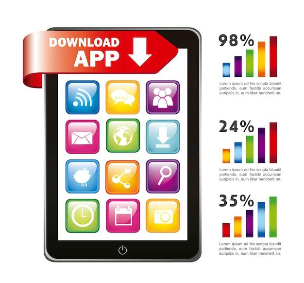 Downlad app illustratie met mobiel en grafiekbalk vector