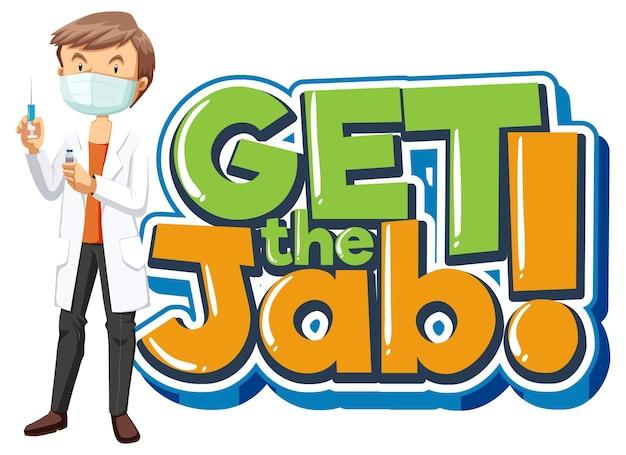 Download de jab-lettertypebanner met een stripfiguur van een mannelijke arts