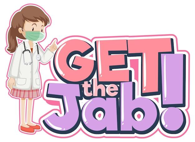 Download de jab-lettertypebanner met een stripfiguur van een vrouwelijke arts