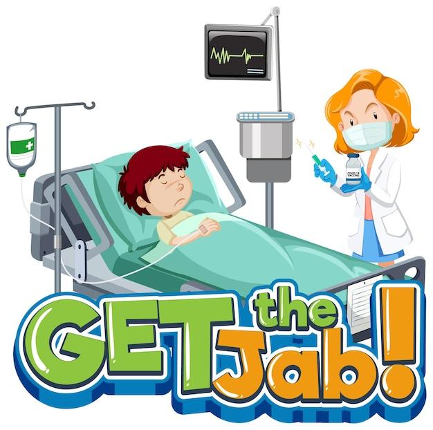 Download de jab-lettertypebanner met stripfiguur van patiënt en arts