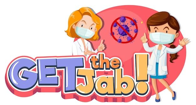 Download de jab-lettertypebanner met stripfiguur van vrouwelijke artsen