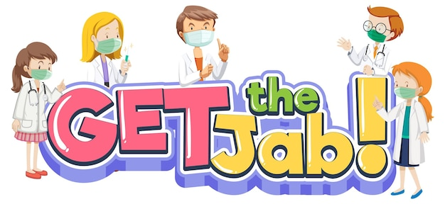 Download de jab-lettertypebanner met veel artsen die een medisch stripfiguur dragen