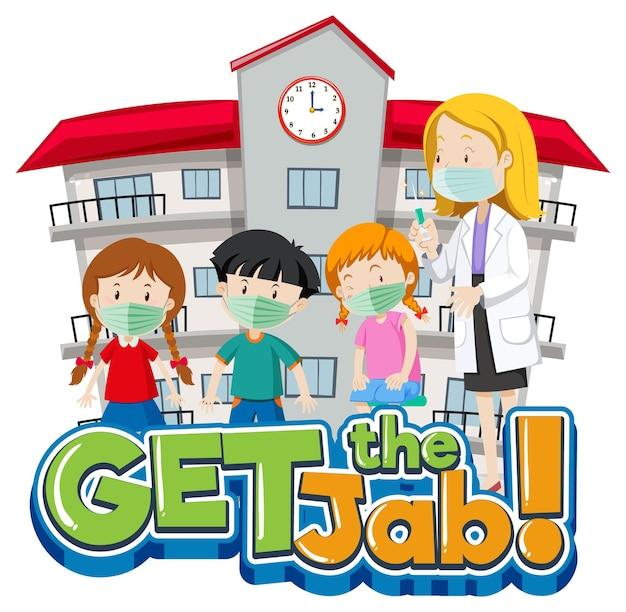 Download de jab-lettertypebanner met veel kinderen die in de rij wachten om een vaccin te krijgen