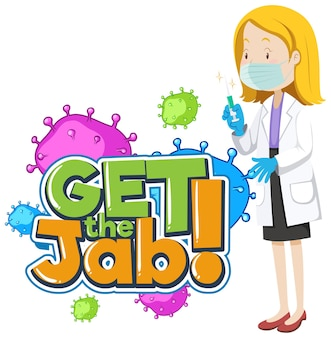 Download het jab-lettertype met een stripfiguur van een vrouwelijke arts