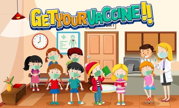 Download het jab-lettertype met veel kinderen die in de rij wachten in de ziekenhuisscène
