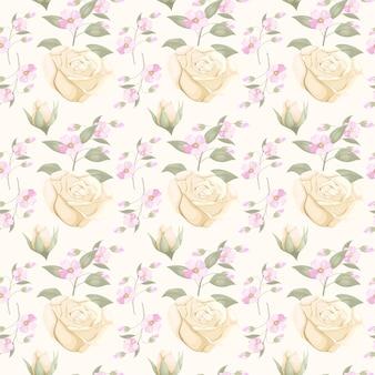 Download naadloos patroonontwerp voor mode met bloem en blad