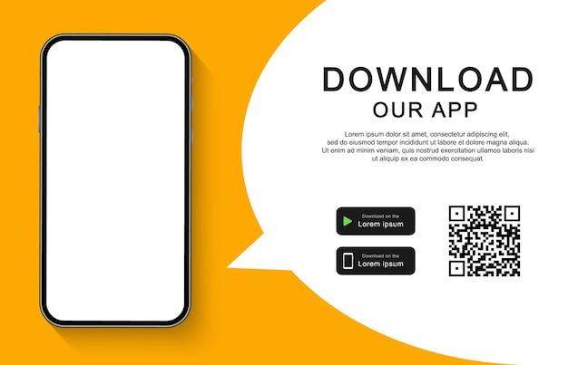 Download onze app voor mobiele telefoon. reclamebanner voor het downloaden van mobiele app. smartphone met leeg scherm voor uw app.