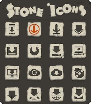 Download vectorpictogrammen op stenen blokken in de stijl van het stenen tijdperk voor web- en gebruikersinterfaceontwerp