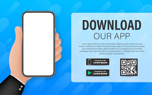 Downloadpagina van de mobiele app. leeg scherm smartphone voor je app. download app. illustratie