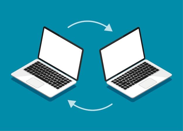Downloadproces bestanden uploaden naar internet of computer concept voor bestandsoverdracht