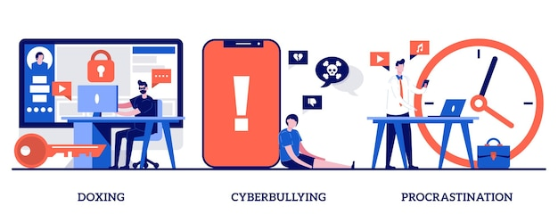 Doxing, cyberpesten, uitstelconcept met kleine mensen