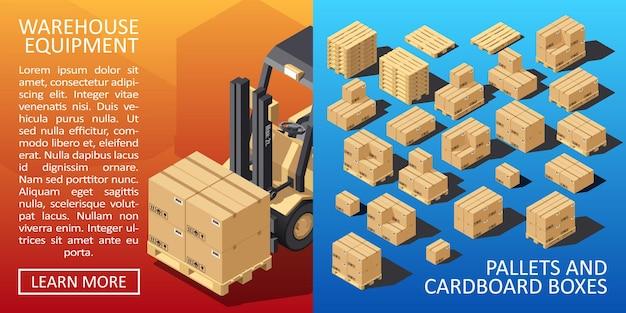 Dozen op beboste pallet isometrische stijl magazijn kartonnen pakketdozen stapel. kartonnen leveringsverpakking met breekbare tekens. vector illustratie.