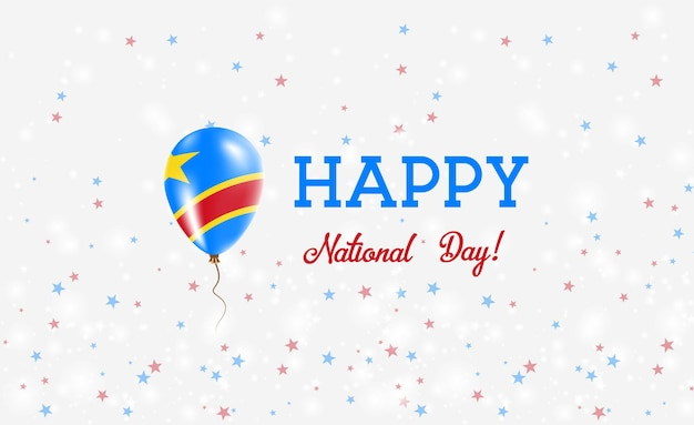 Dr congo nationale feestdag patriottische poster. vliegende rubberen ballon in de kleuren van de congolese vlag. dr congo nationale feestdag achtergrond met ballon, confetti, sterren, bokeh en sparkles.